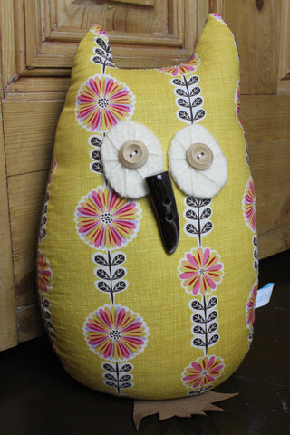 Owl Lavender Door Stop/Book End - Yellow Floral
