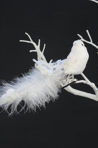White Faux Feather Bird Clip