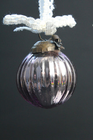 Small Lilac Glass Christmas Bauble -5cm