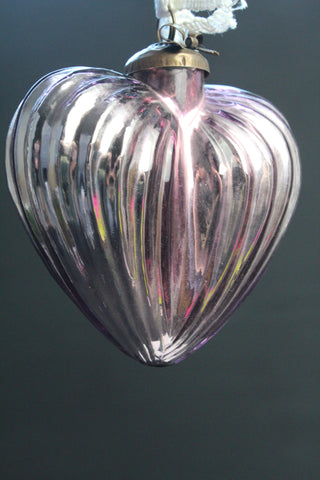 Lilac Glass Large Heart Christmas Bauble -14.5cm