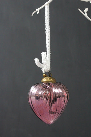 Lilac Glass Small Heart Christmas Bauble -7.5cm