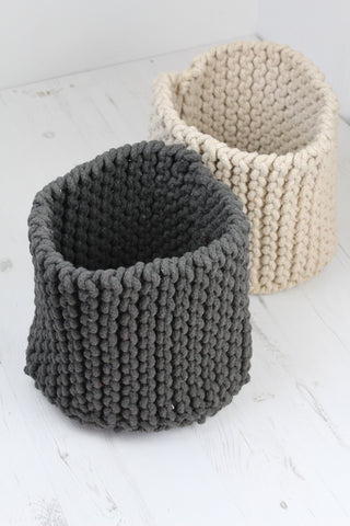 Small Knitted Storage Basket - 3 Colours Available