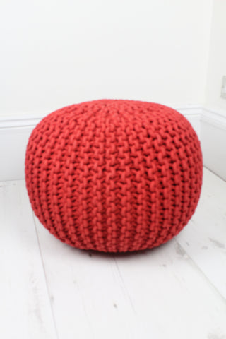Knitted Pouffe - Red