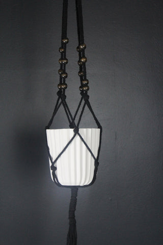 Small Black Macrame Plant Pot Hanger