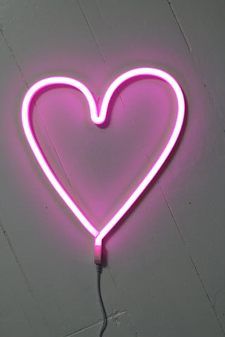 LED Pink Heart Neon Wall Light