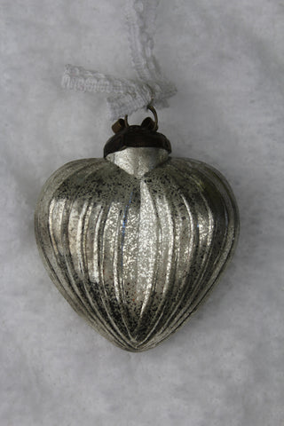 Antique Silver Glass Small Heart Christmas Bauble -7.5cm