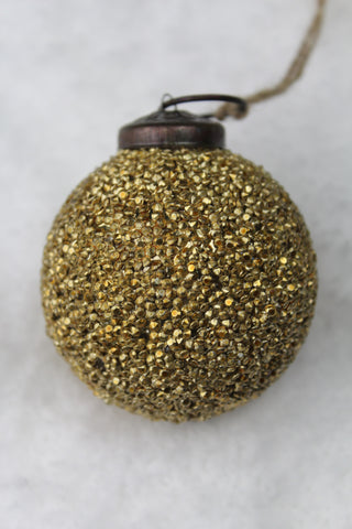 Antique Gold Small Glitter Glass Christmas Bauble - 5cm