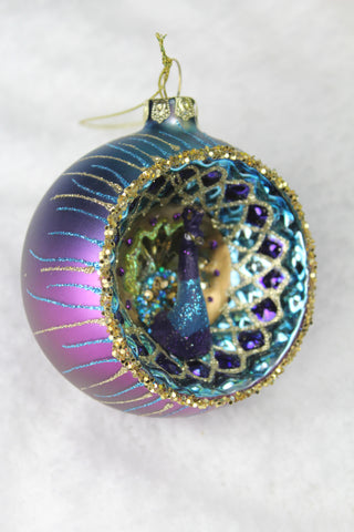 Peacock Christmas Glass Bauble -8cm