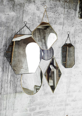 Diamond Brass Mirror