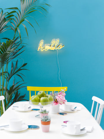 Hello Neon Perspex Wall Light -Yellow