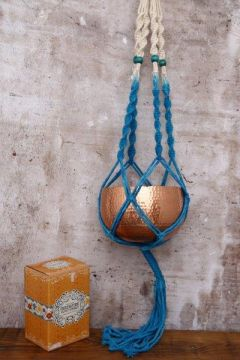 Macrame Plant Pot Hanger In Natural & Turquoise