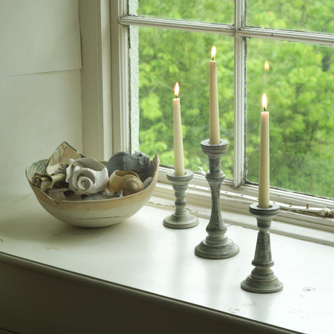 Fairtrade Distressed Wooden Candlesticks