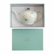 White Spotted China TeaPot In Gift Box