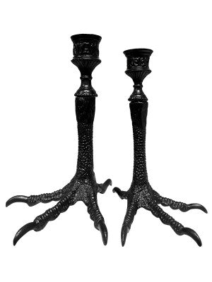 Ornate birds feet candlestick - black