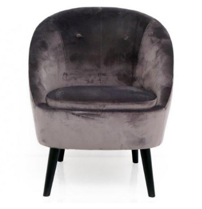 Grey velvet lounge chair