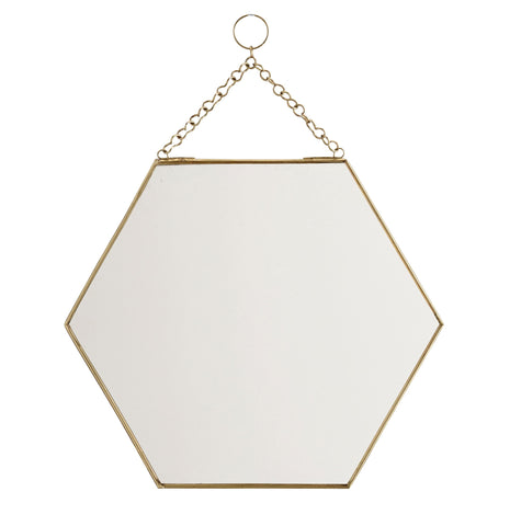 Hexagonal Brass Mirror