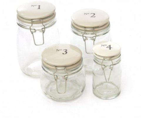 Number Glass Storage Jars - 3 Sizes Available