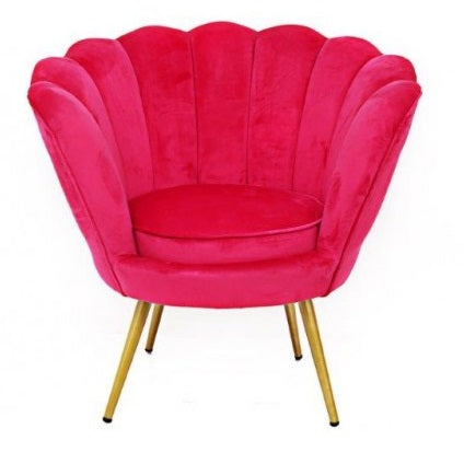 Pink Scalloped Velvet Armchair