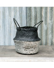 Black and silver storage basket - 2 sizes