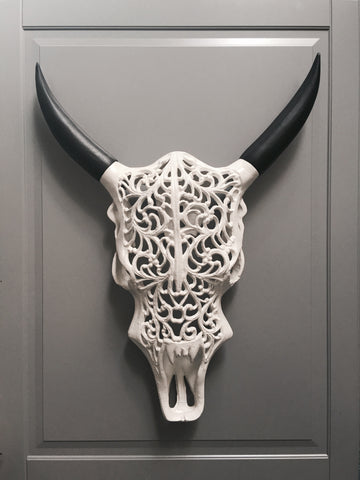 White Metal Bull's Head
