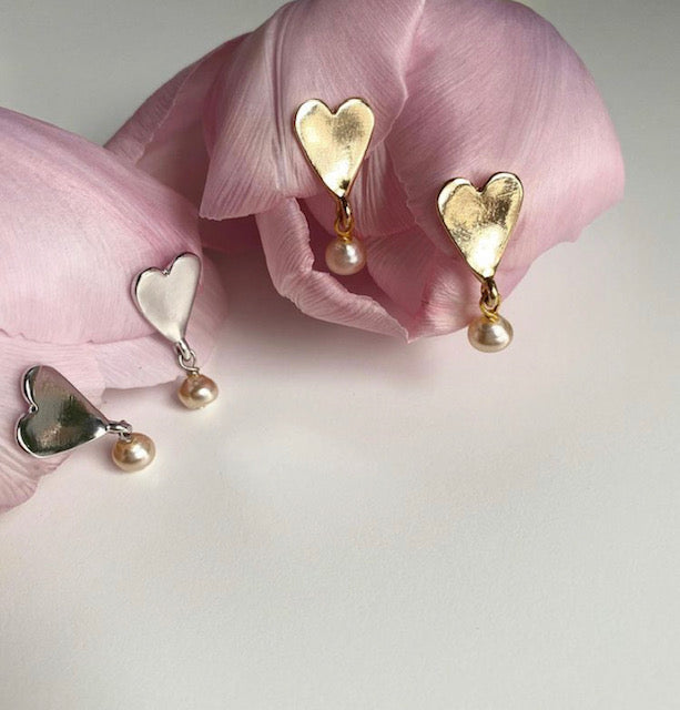 Gold and Silver heart and pearl earrings.