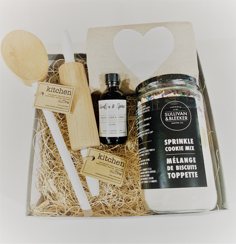 Gift box with baking related products.