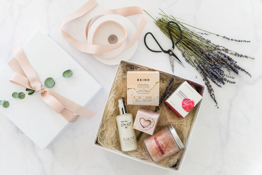 Gift box featuring self care products