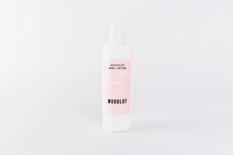 Woodlot Amour body lotion bottle.