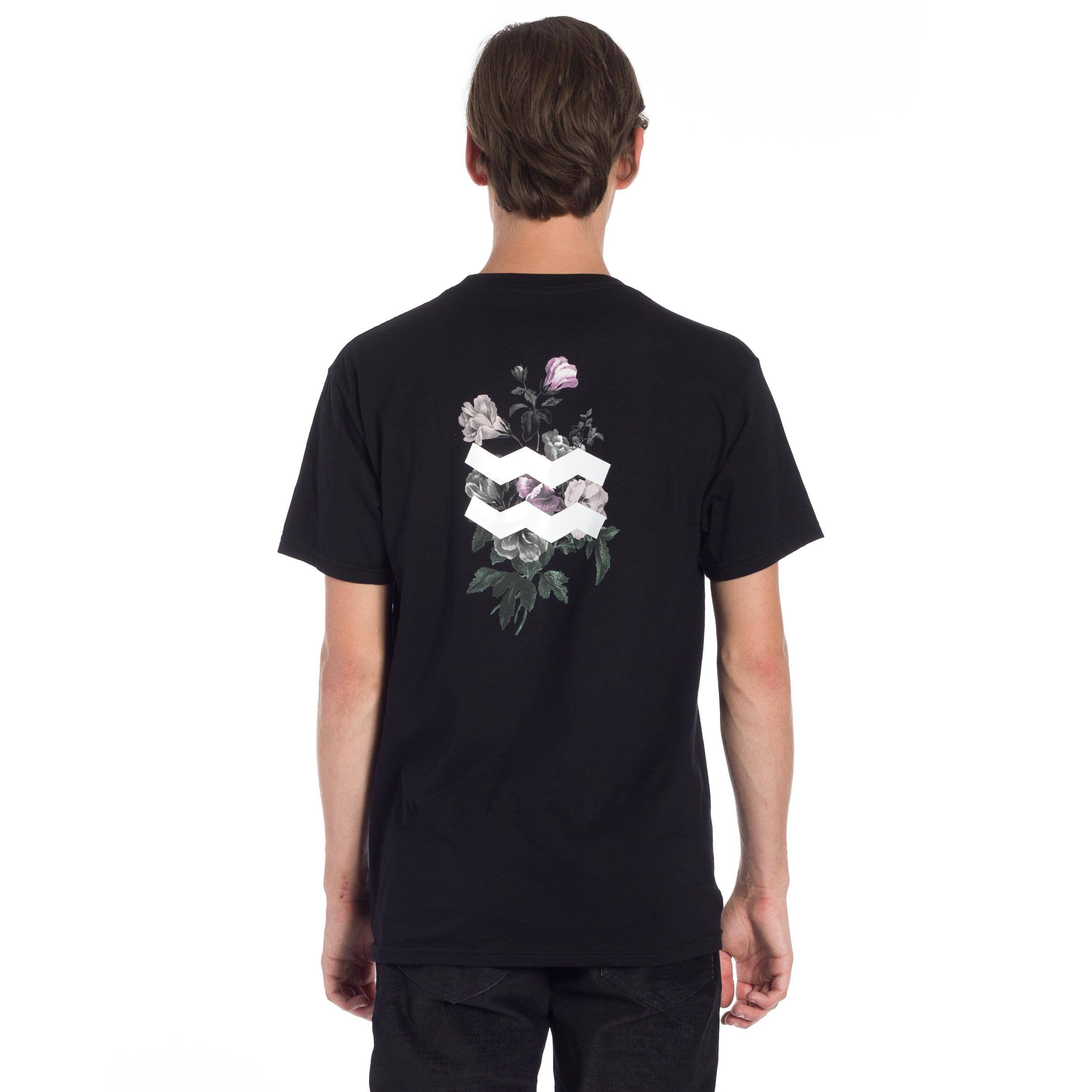 French Floral Pocket T-Shirt - Black