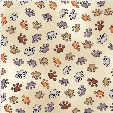 Puppy Paws Bone Fabric Yard