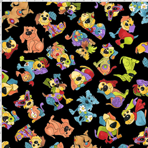 Joyful Toss Black Fabric