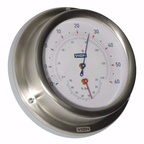 Vion - Thermometer / Hygrometer - Mat RVS - 129 mm