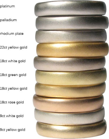 A stack of rings showing the difference between 9k gold, 18k gold and 24k gold. Stack also shows the various gold rings in white gold, yellow gold and rose gold