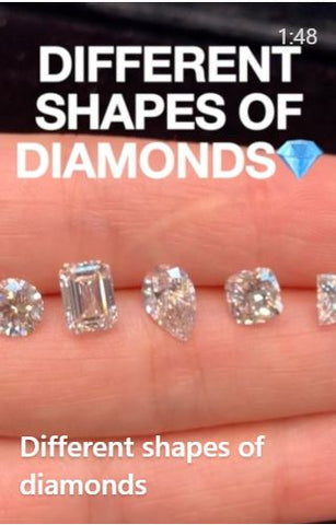 different diamond shapes on hand - round brilliant cut diamond, emerald diamond, pear shape diamond, cushion cut diamond and princess cut diamond