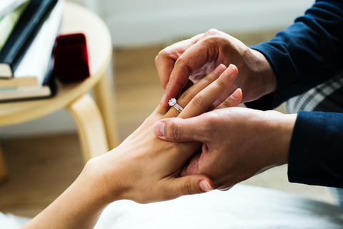 Close up of a male hand putting a ring on a females hand