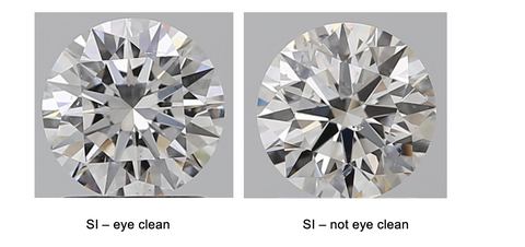 A magnified diamond of SI clarity that is eye clean next to a diamond of SI clarity that is not eye clean