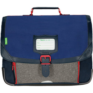 Cartable chiné Léo bleu 38cm Tann's