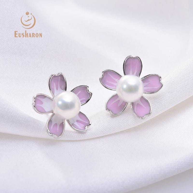 pink cherry blossoms flower pearl stud