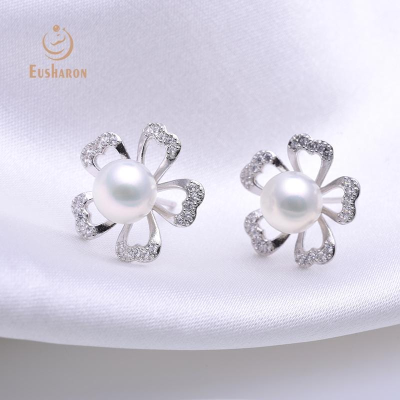 silver cherry blossoms flowers pearl stud