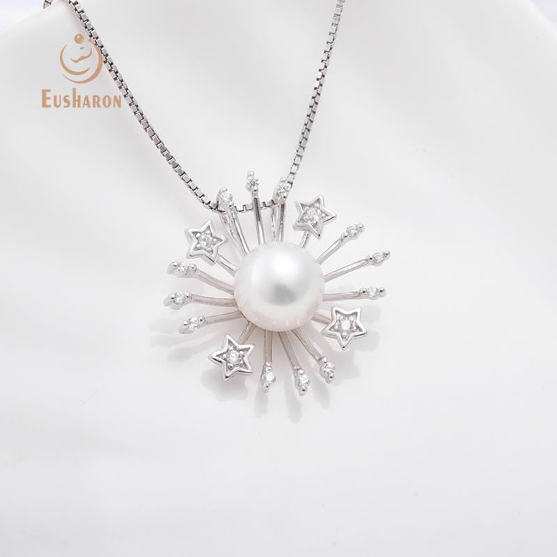 Wholesale sterling silver sun and stars freshwater pearl pendant