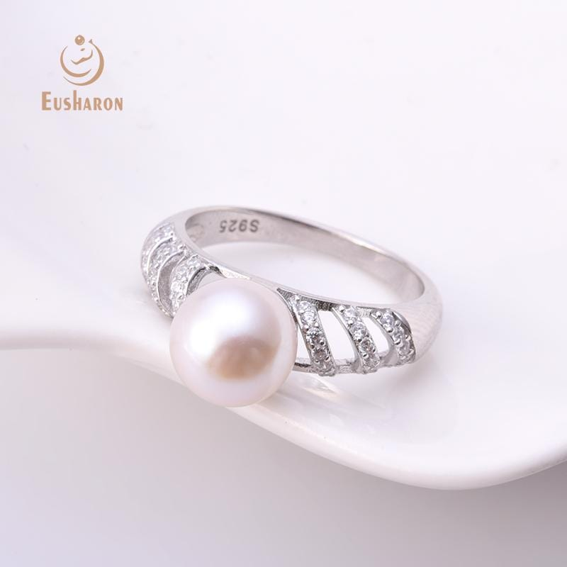bulk CZ diamond freshwater pearl ring