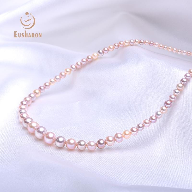 3-9mm Multicolor Round Freshwater Pearl Tower Chain