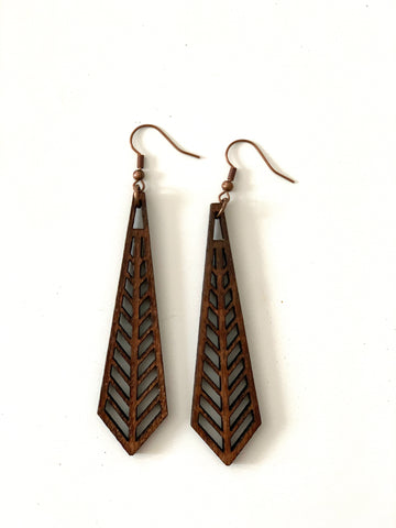 Angled Tear Drop Earring in Wood