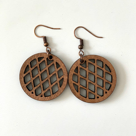Circle Grid Earring in Wood