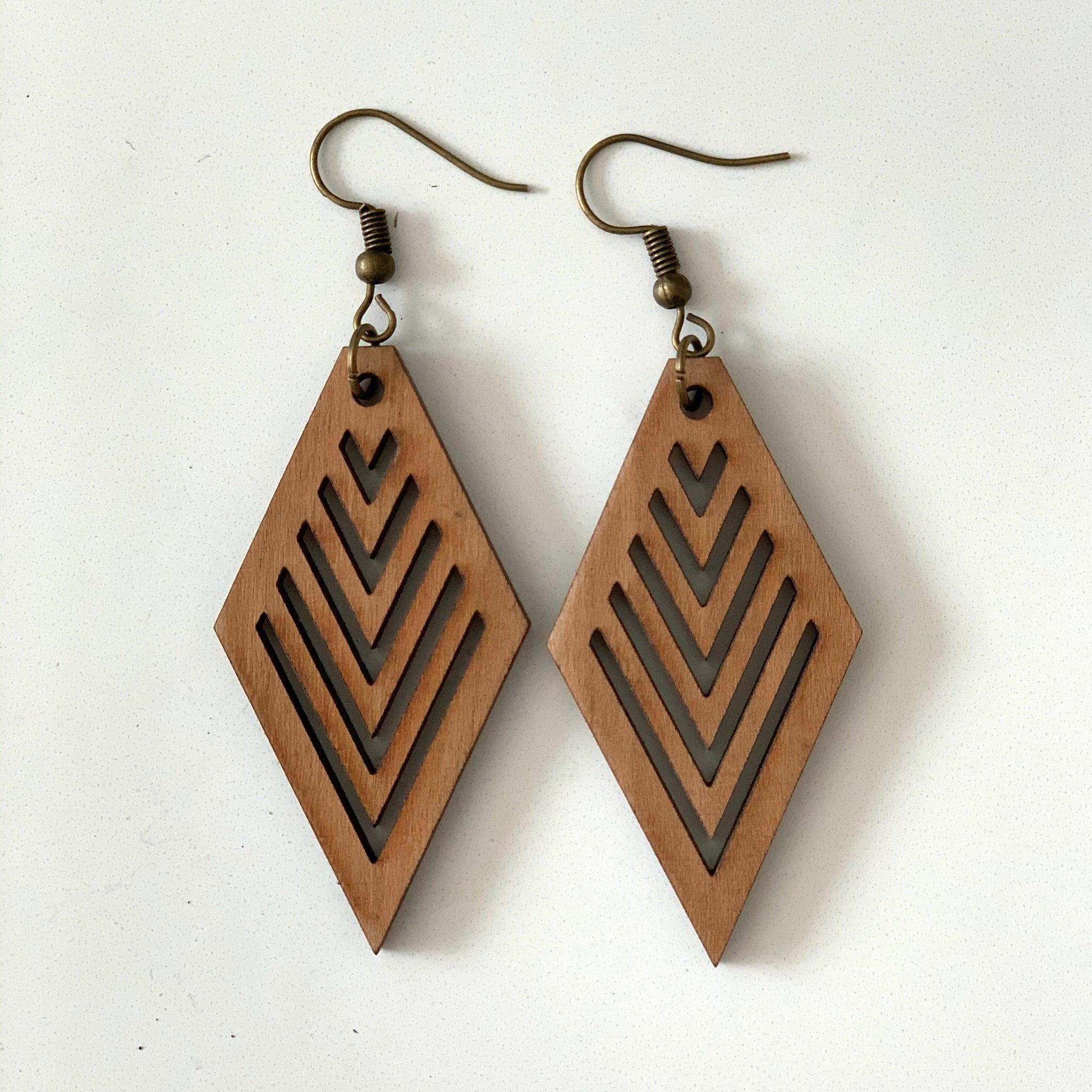 Diamond Earring with V Cuts in Wood - Orange