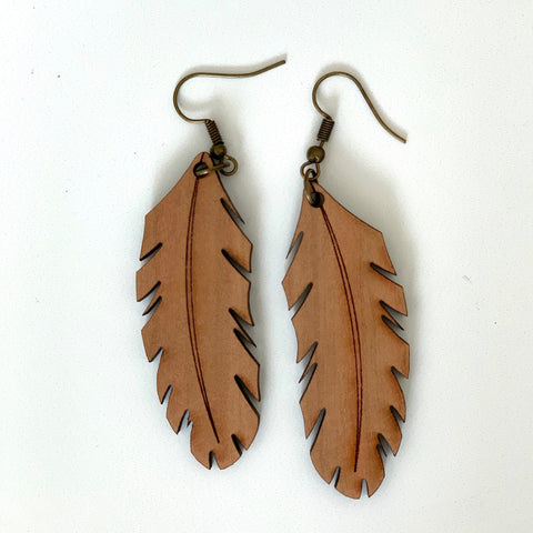 Leaf Earring in Wood