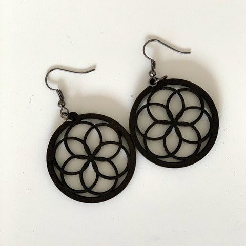 Medallion Earring in Leather