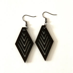 Diamond Earring with V Cuts in Wood