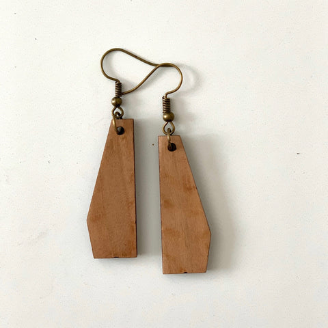 Solid Geometric Earring in Wood