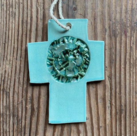 Turquoise medallion cross
